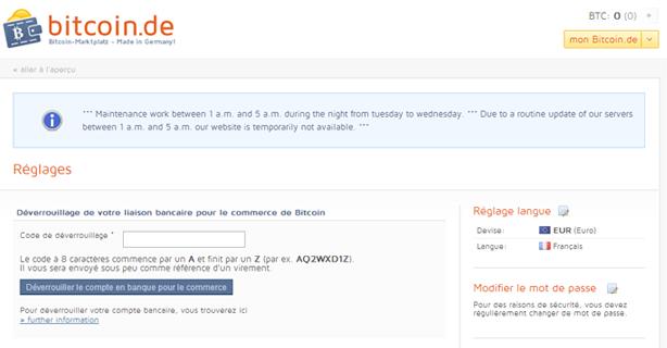 Authentification Bitcoin.de