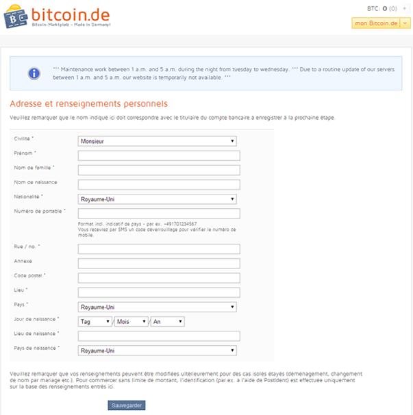 Formulaire d'enregistrement Bitcoin.de