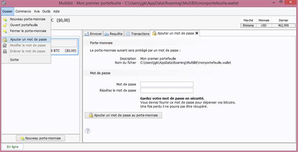Multibit : Sécurité et mot de passe