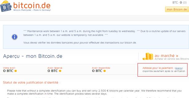 Paiement Bitcoin.de