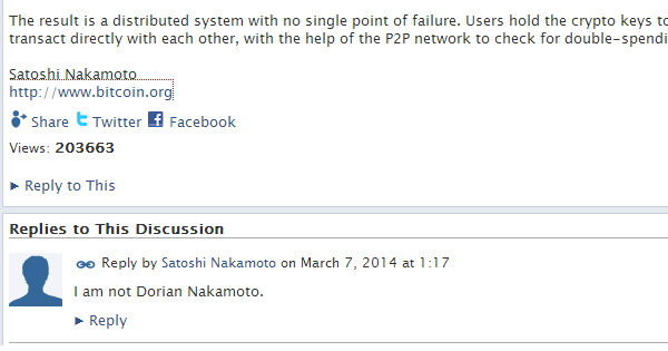 Satoshi Nakamoto répond à Newsweek