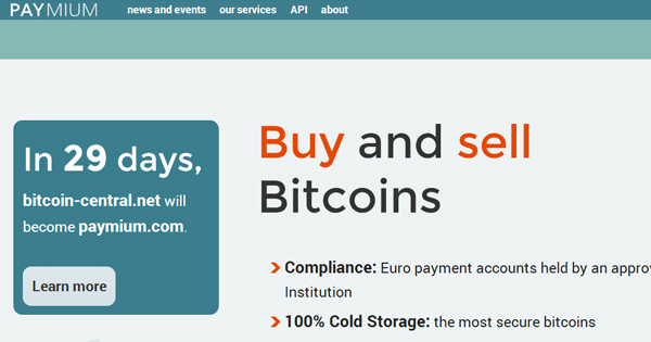 Bitcoin-Central : changement de nom (Paymium)