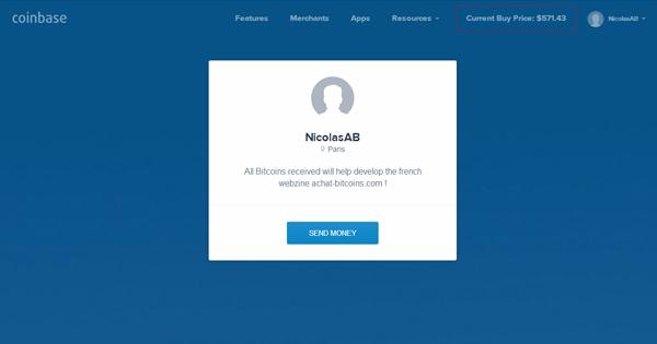 Coinbase : Paiement sur la page (social)