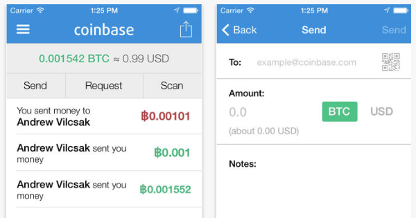 Coinbase : Application iOS portefeuille Bitcoins (Apple App Store)