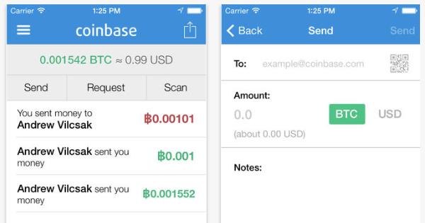 Coinbase : Application iOS portefeuille Bitcoins (Apple App Store)