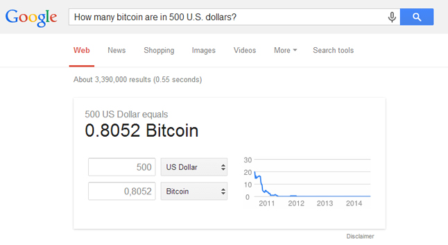 Google : Calculatrice Bitcoin