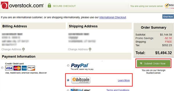 Overstock : paiement en bitcoin partout dans le monde