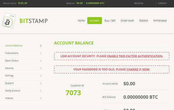 Bitstamp : Connexion au compte