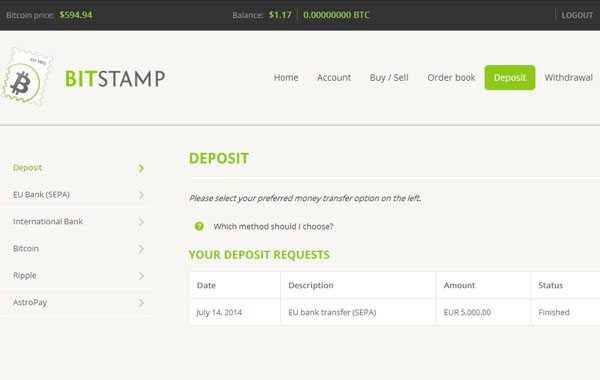 Bitstamp : dépôt en Bitcoin