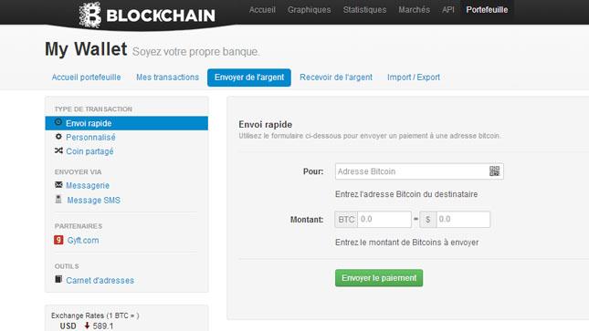 Envoyer de l'argent avec Blockchain