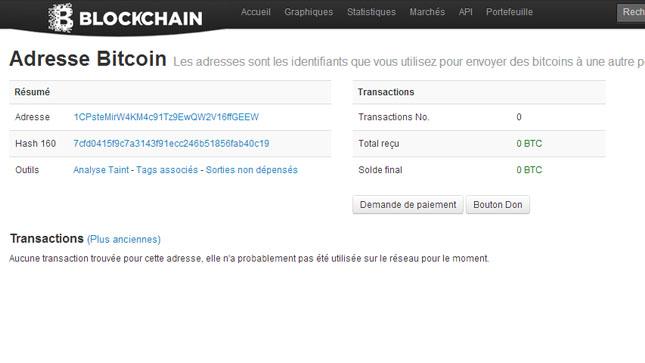Détail de l'adresse Bitcoin Blockchain