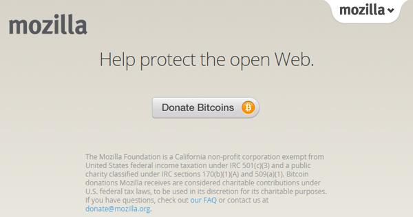 La fondation Mozilla accepte le Bitcoin
