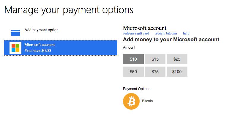 Payez sur Microsoft en Bitcoin