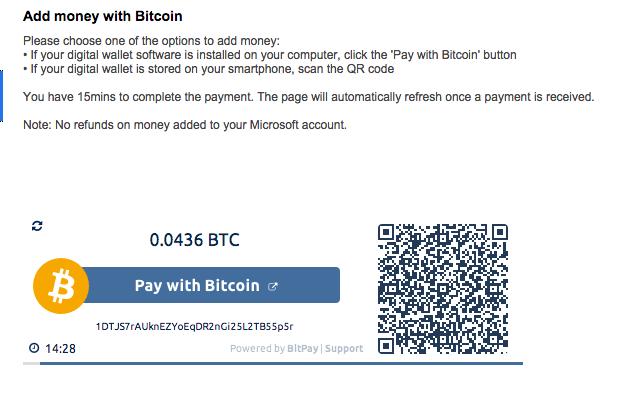 Valider une commande Microsoft en Bitcoins