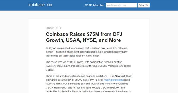 Coinbase lève 75 millions de dollars