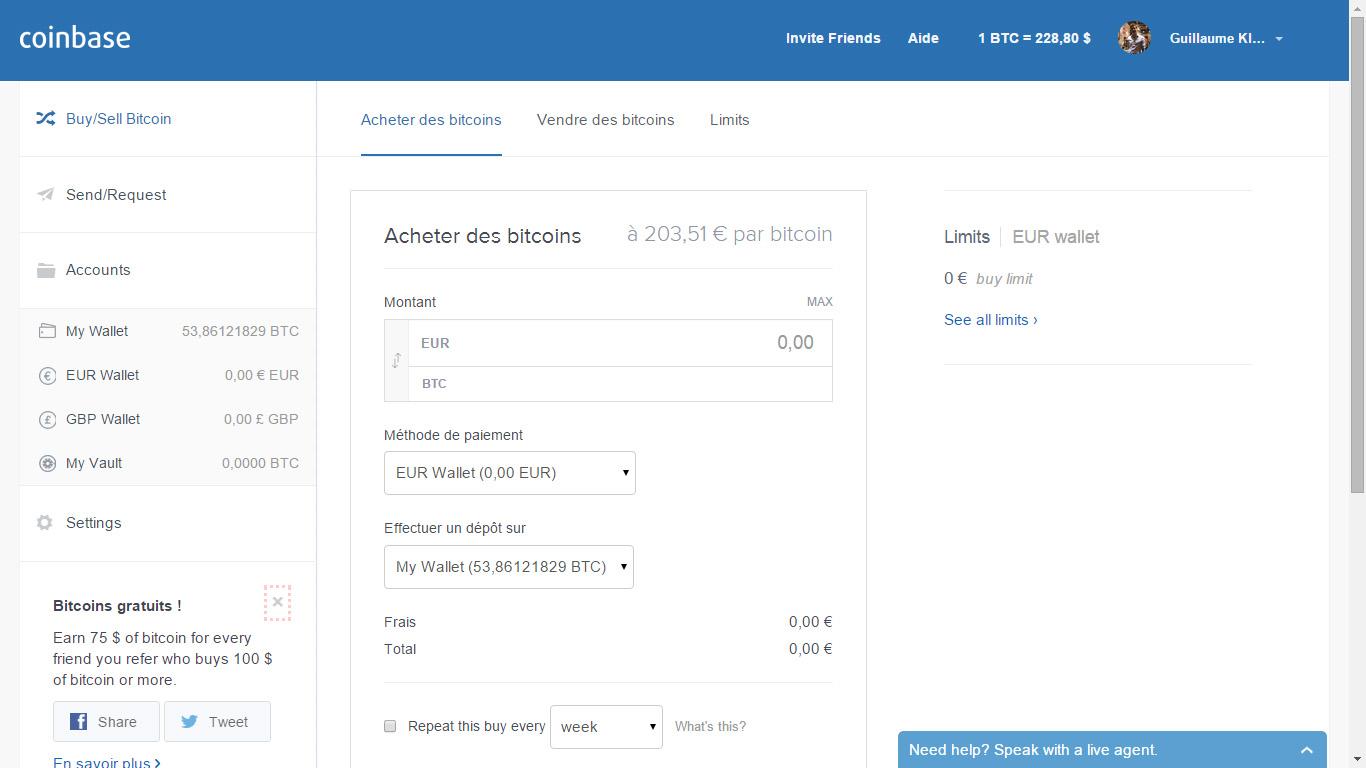 Acheter des Bitcoins sur Coinbase