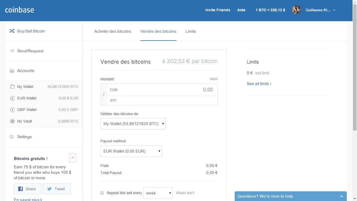Vendre des Bitcoins sur Coinbase