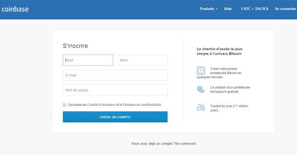Ouvrir un compte sur Coinbase