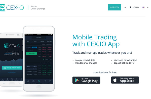 Version mobile de CEX.IO