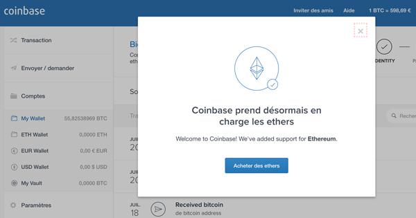 Coinbase permet d'acheter de l'Ether sur l'interface classique